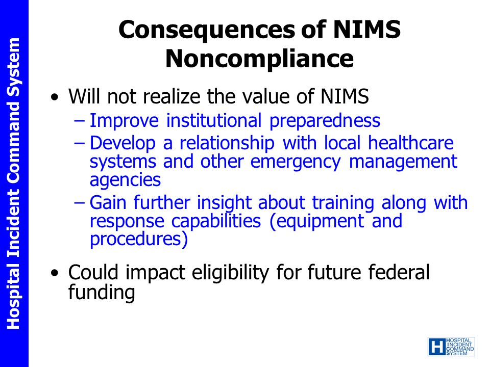 Consequences of NIMS Noncompliance