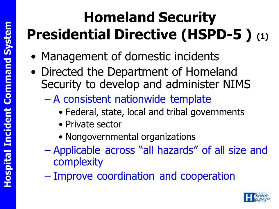 Homeland Security Presidential Directive (HSPD-5 ) (1)