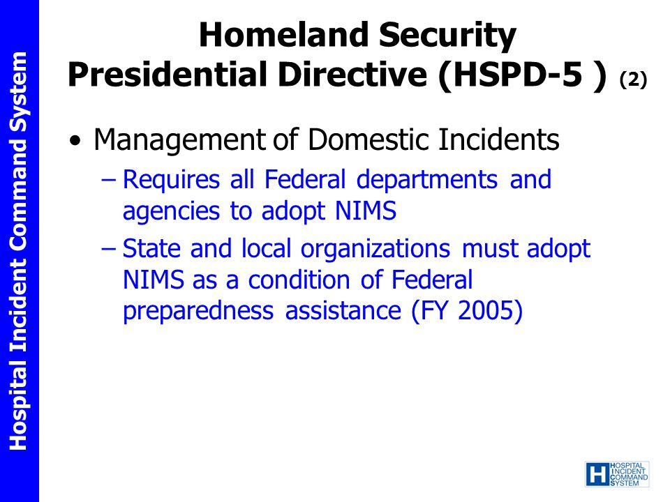 Homeland Security Presidential Directive (HSPD-5 ) (2)