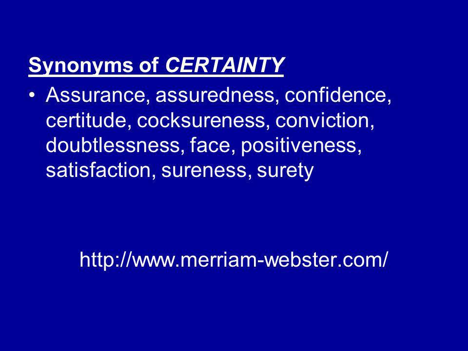 Synonyms of CERTAINTY
