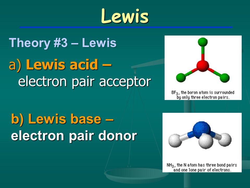 Lewis a) Lewis acid – electron pair acceptor