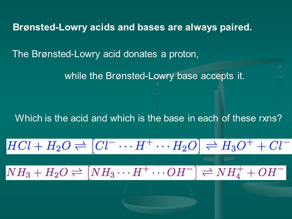 Brønsted-Lowry acids and bases are always paired.