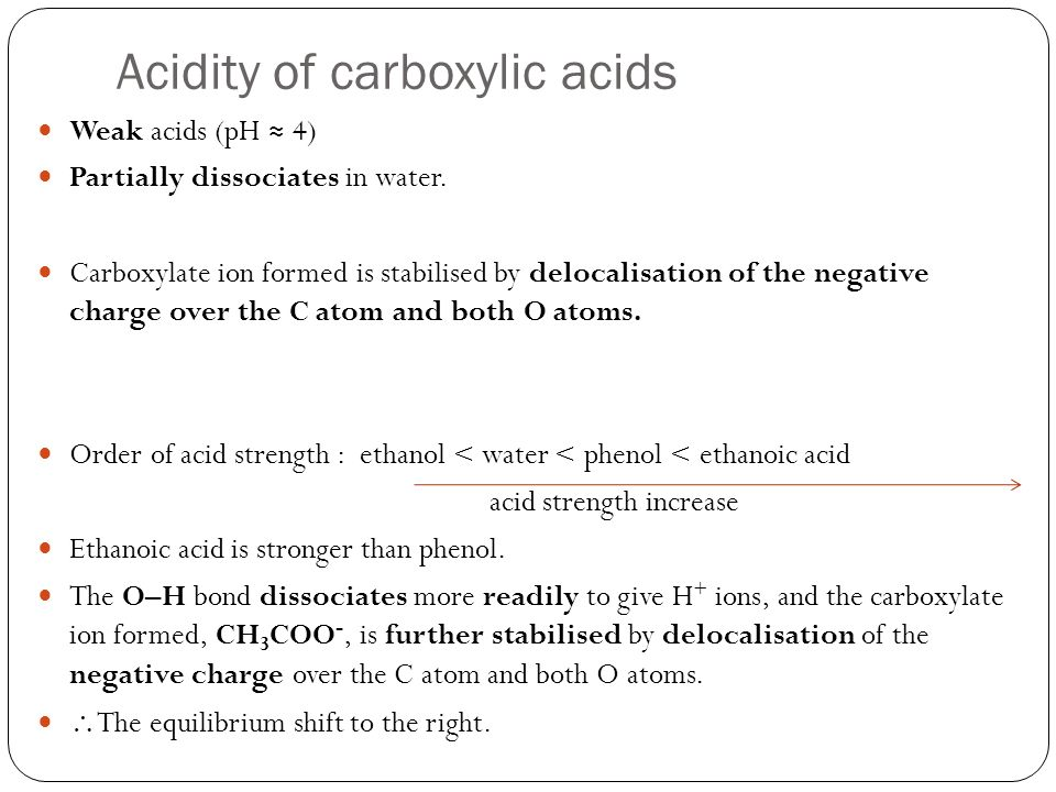 Acidity of carboxylic acids