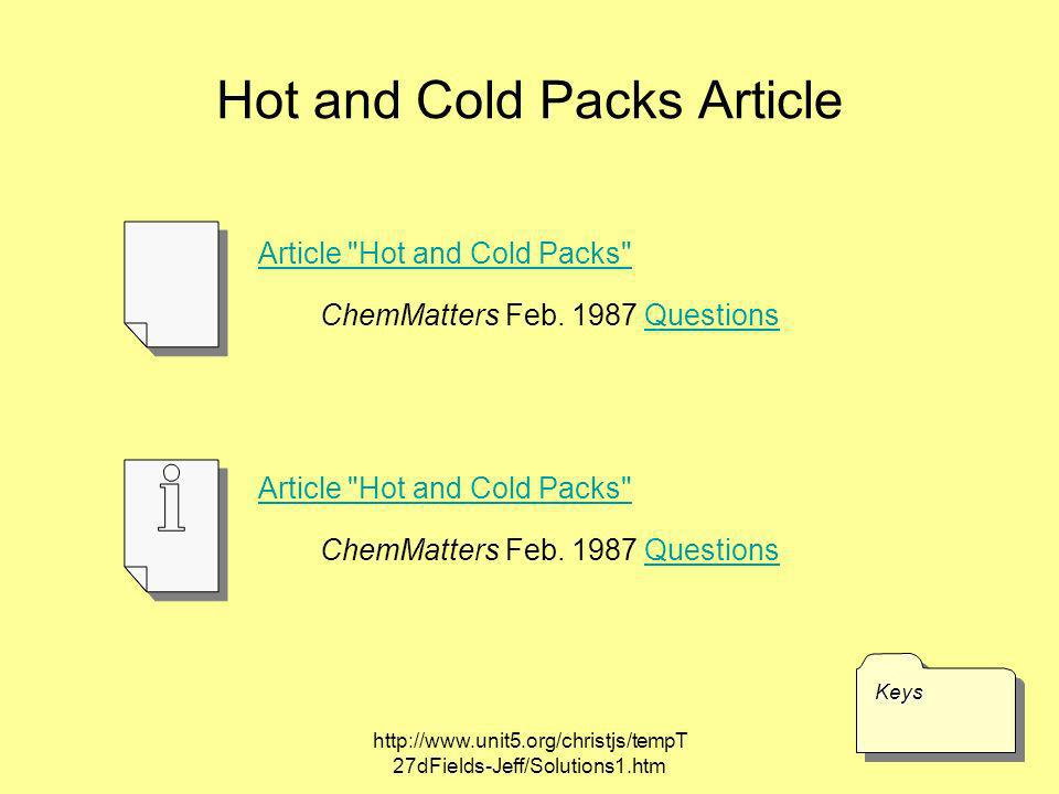 Hot and Cold Packs Article