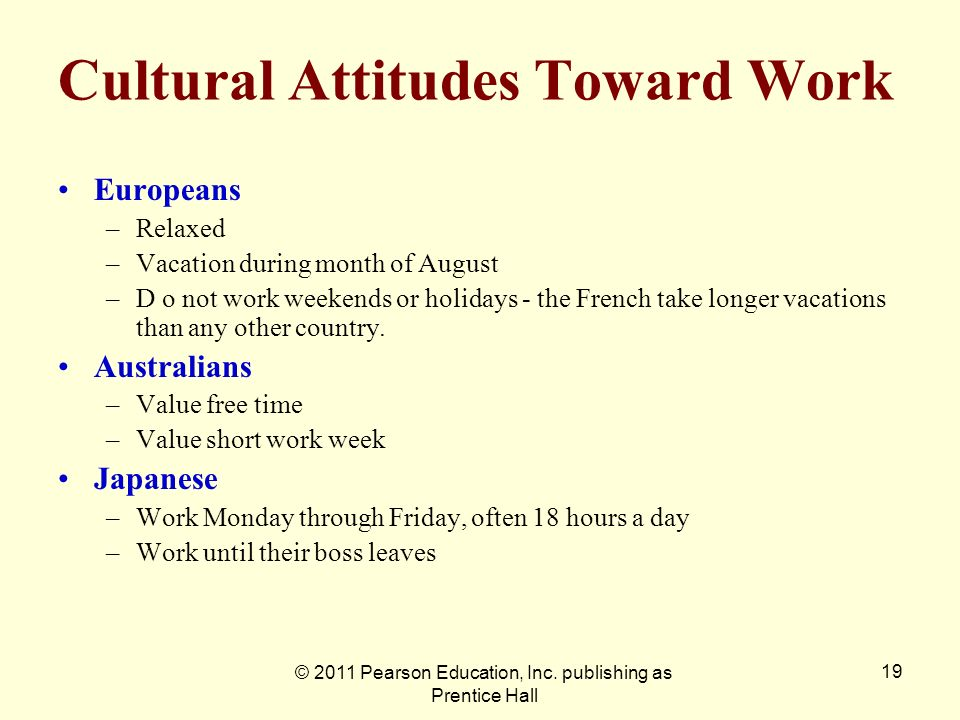 Cultural Attitudes Toward Work