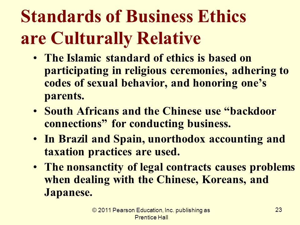 Standards of Business Ethics are Culturally Relative
