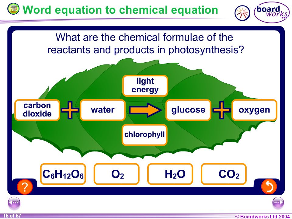 Word equation to chemical equation