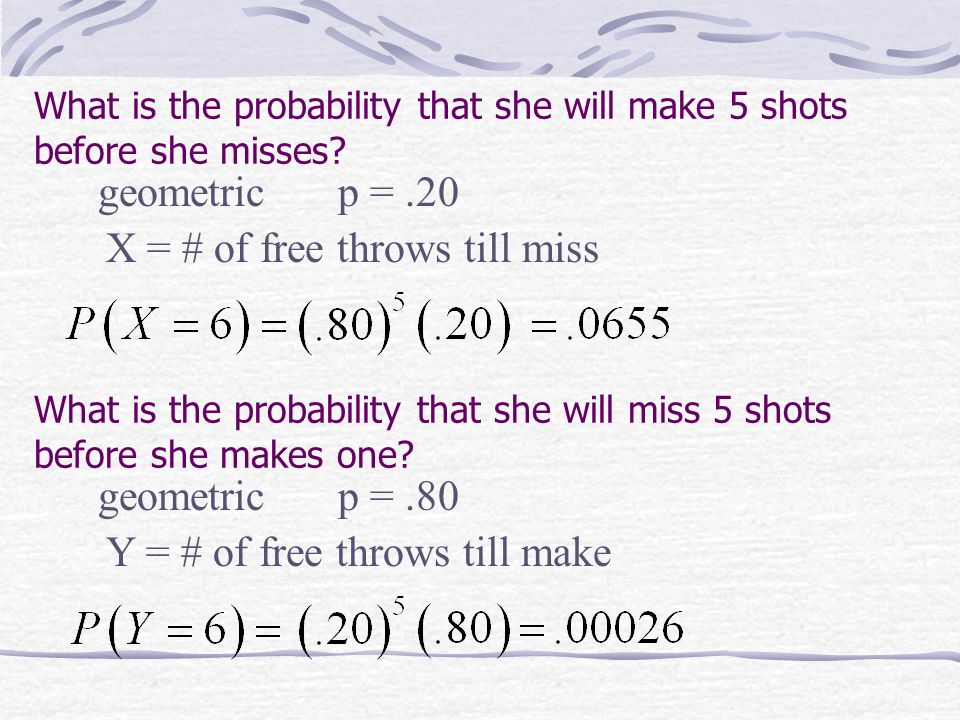 What is the probability that she will make 5 shots before she misses