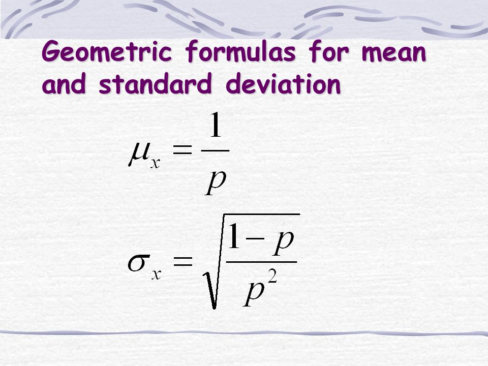 Geometric formulas for mean and standard deviation