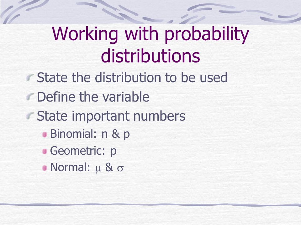 Working with probability distributions