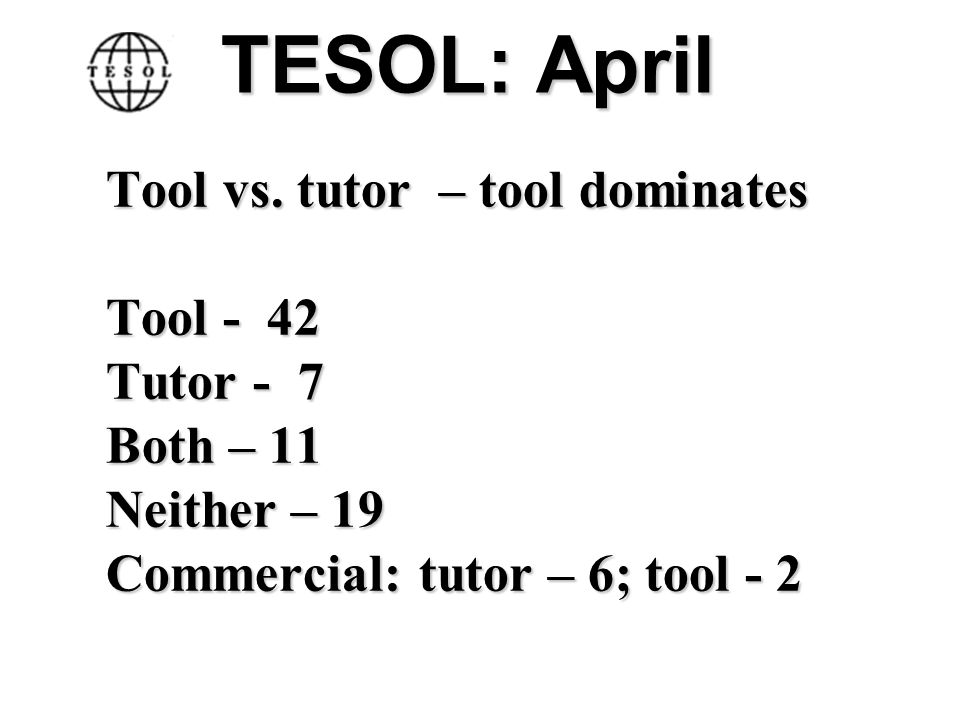 TESOL: April Tool vs. tutor – tool dominates Tool - 42 Tutor - 7