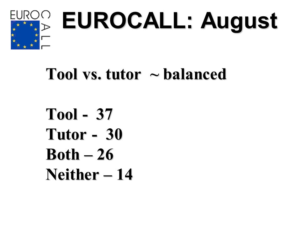 EUROCALL: August Tool vs. tutor ~ balanced Tool - 37 Tutor - 30