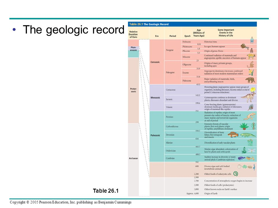 The geologic record Table 26.1