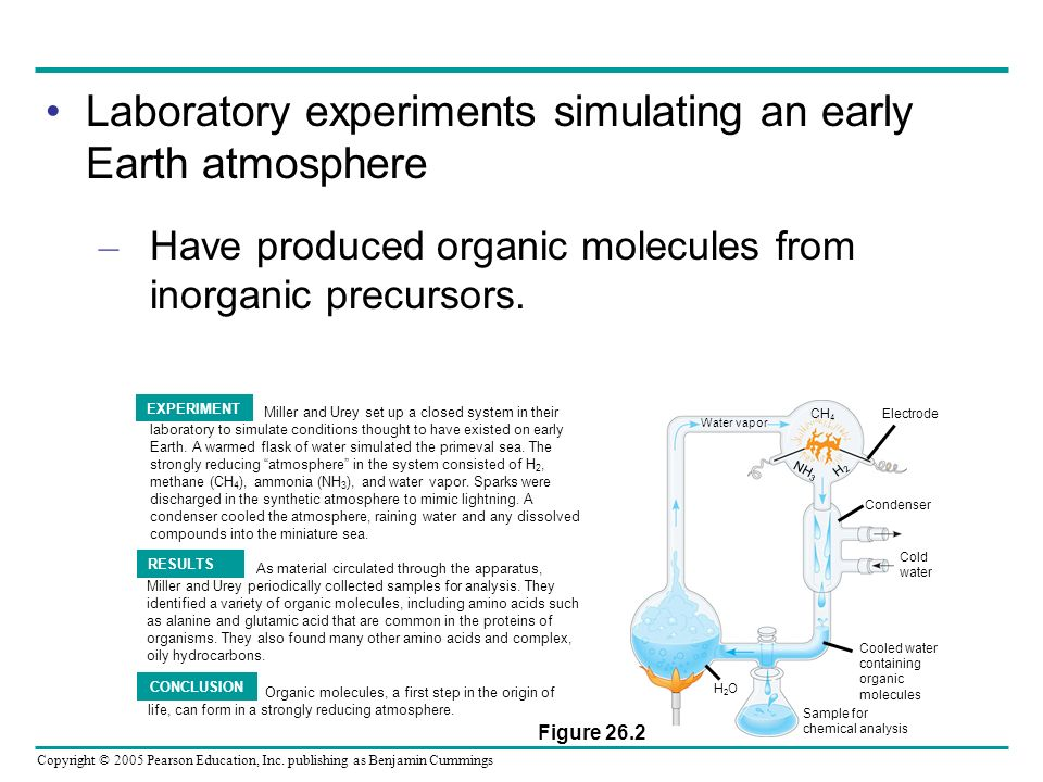 Laboratory experiments simulating an early Earth atmosphere