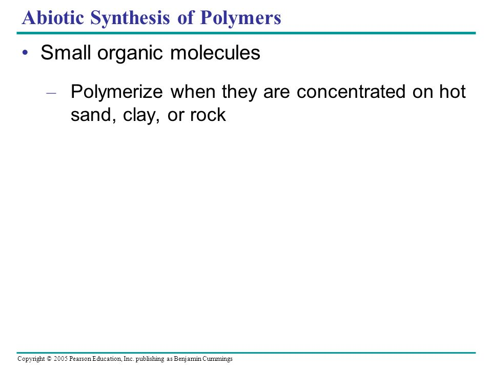 Abiotic Synthesis of Polymers