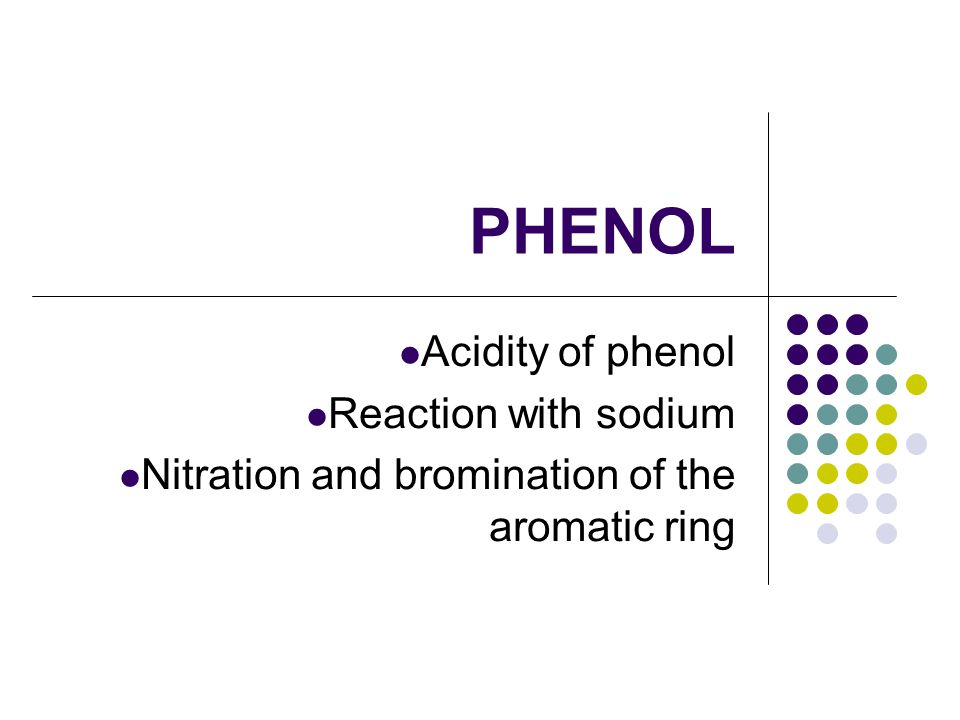 PHENOL Acidity of phenol Reaction with sodium