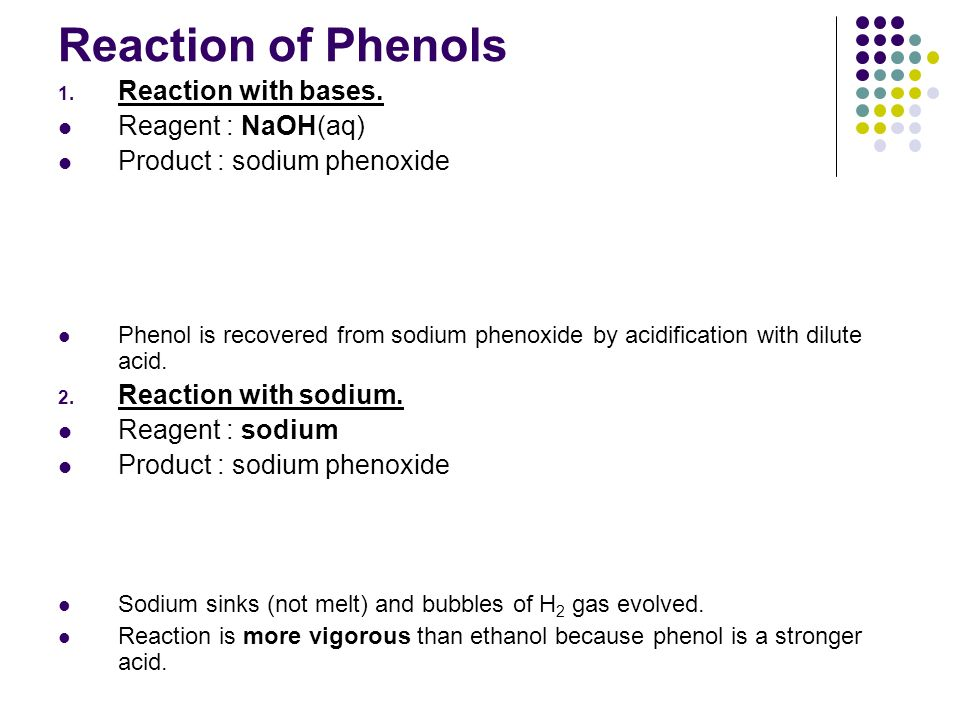 Reaction of Phenols Reaction with bases. Reagent : NaOH(aq)