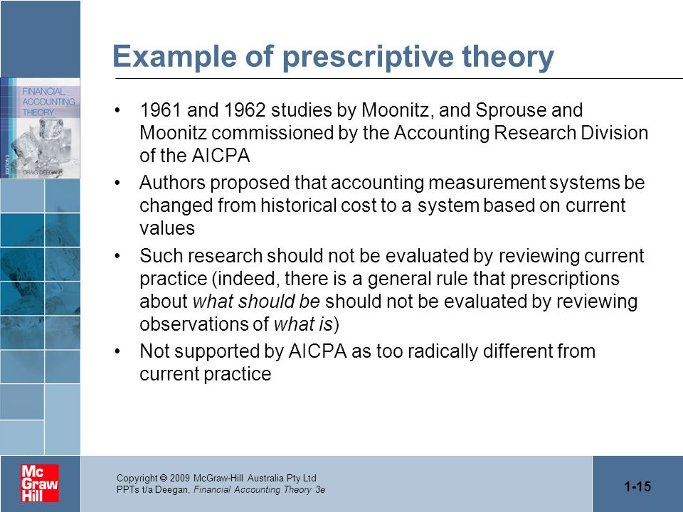 Example of prescriptive theory