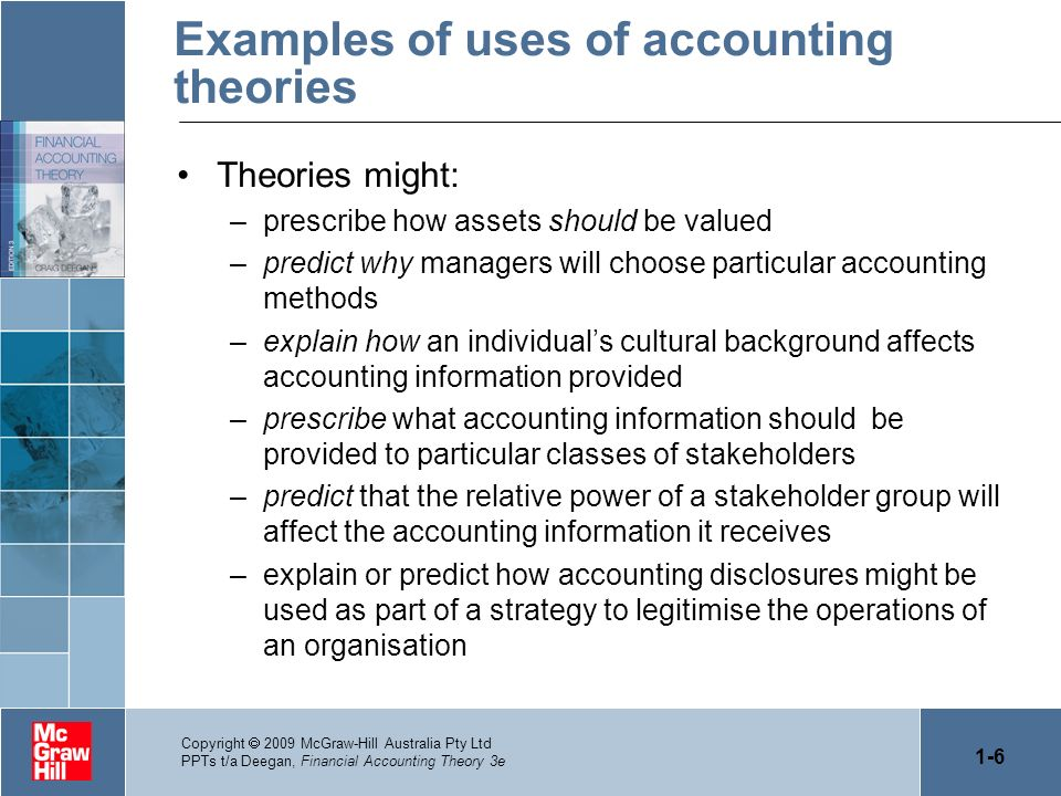 Examples of uses of accounting theories