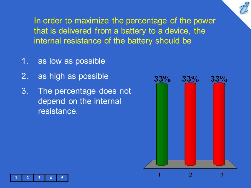 The percentage does not depend on the internal resistance.