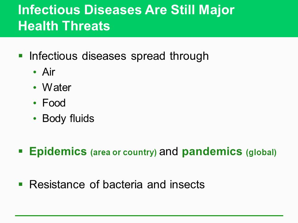 Infectious Diseases Are Still Major Health Threats