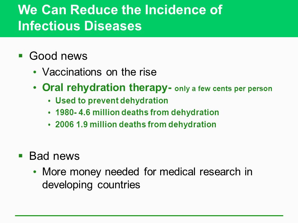 We Can Reduce the Incidence of Infectious Diseases