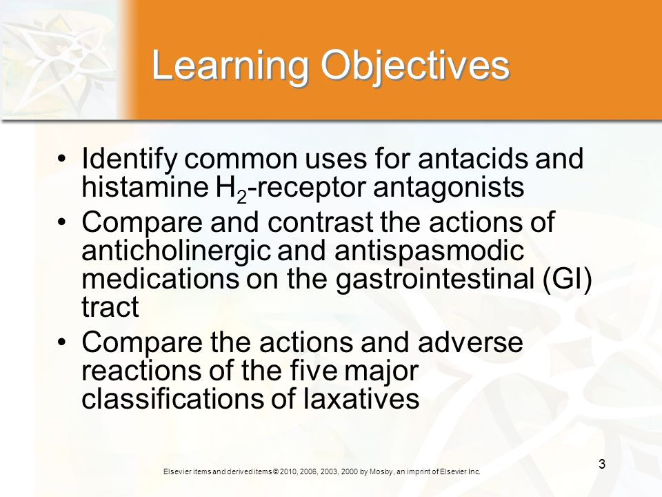 Learning Objectives Identify common uses for antacids and histamine H2-receptor antagonists.