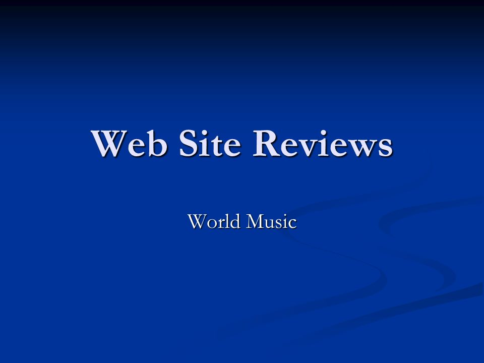 Web Site Reviews World Music