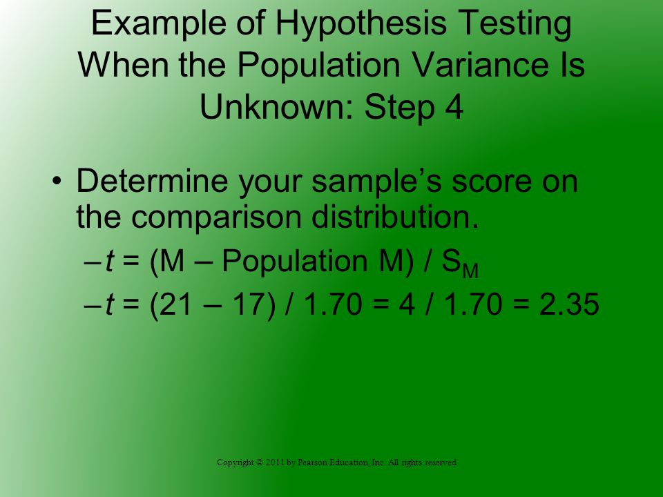 Example of Hypothesis Testing When the Population Variance Is Unknown: Step 4