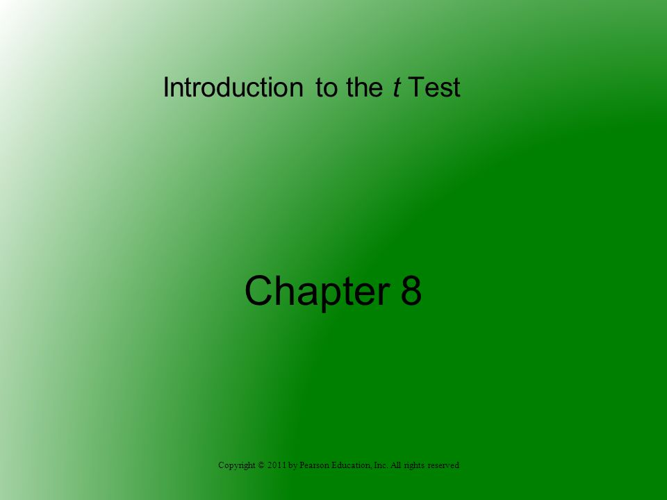 Introduction to the t Test