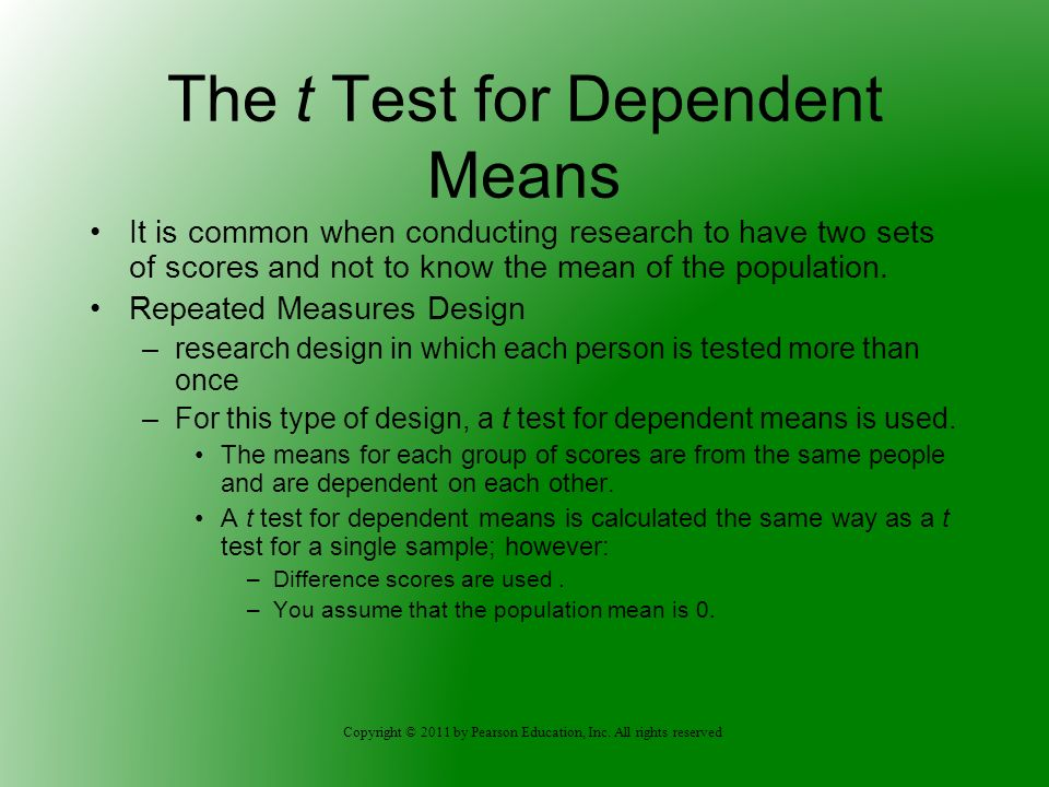 The t Test for Dependent Means