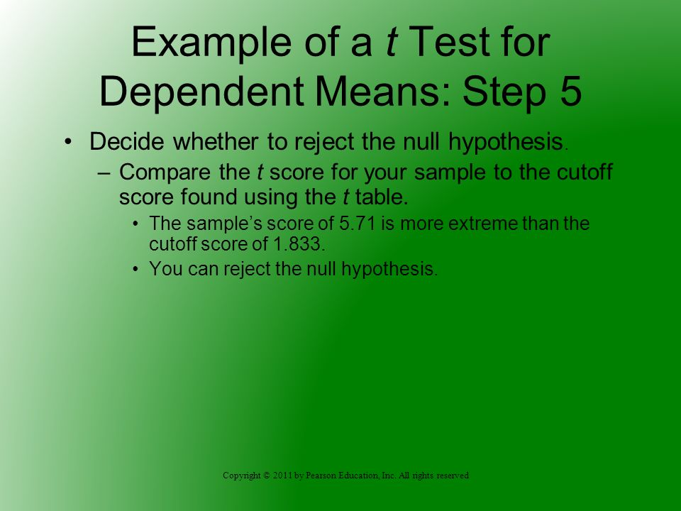 Example of a t Test for Dependent Means: Step 5