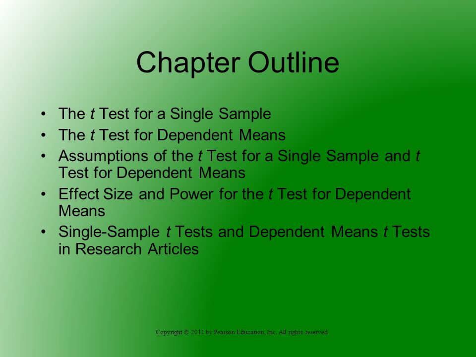 Chapter Outline The t Test for a Single Sample