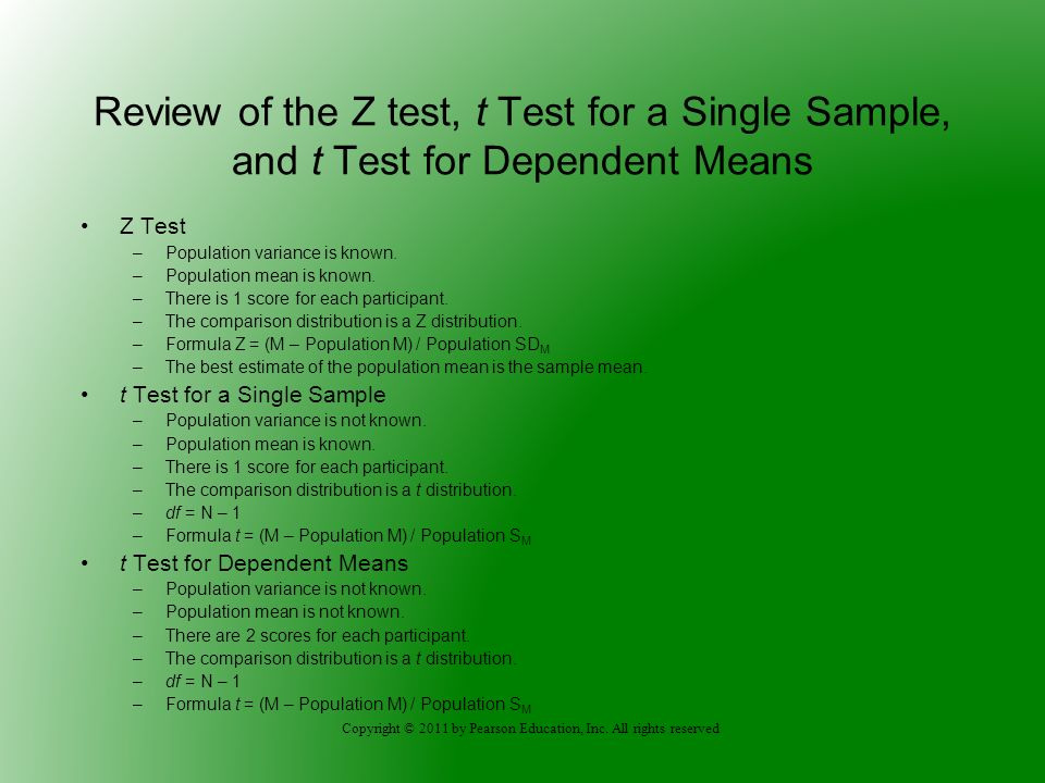 Review of the Z test, t Test for a Single Sample, and t Test for Dependent Means
