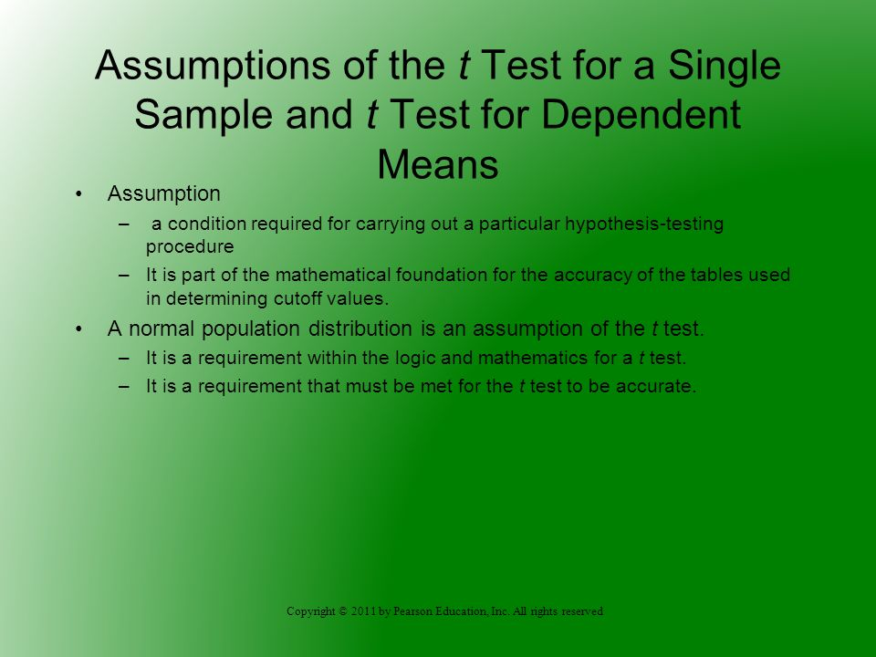 Assumptions of the t Test for a Single Sample and t Test for Dependent Means