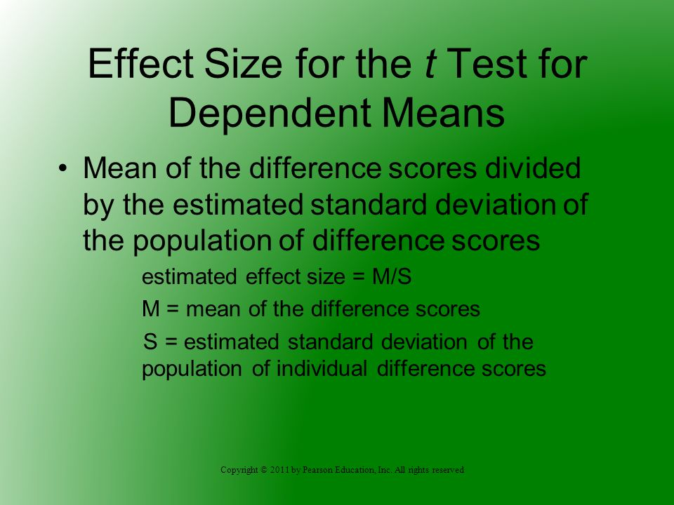 Effect Size for the t Test for Dependent Means
