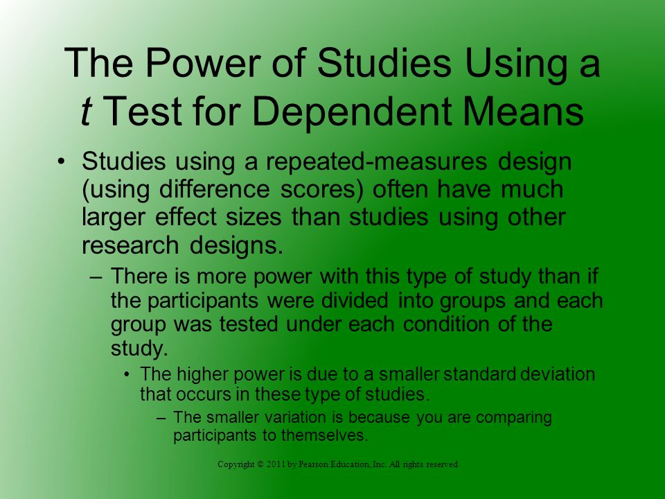 The Power of Studies Using a t Test for Dependent Means