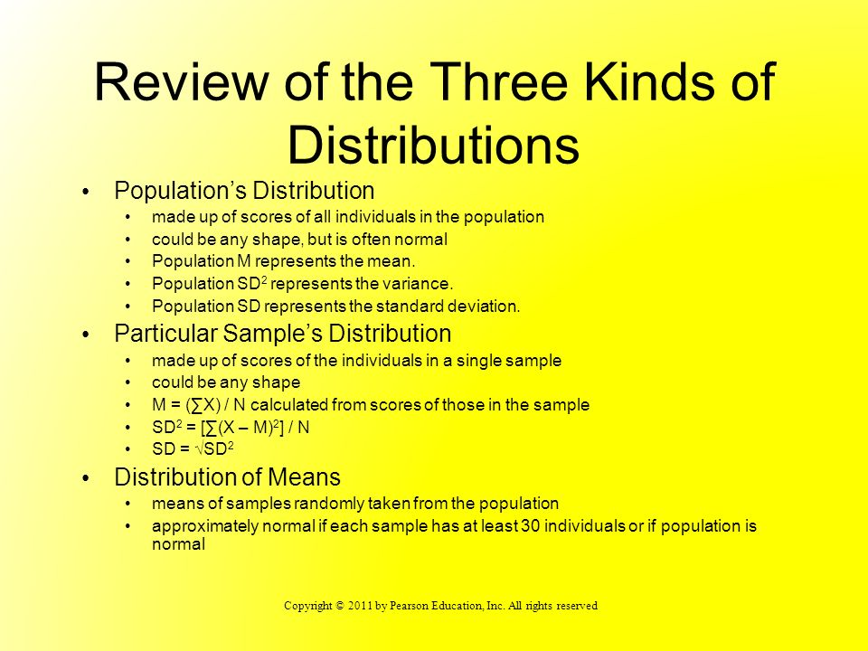 Review of the Three Kinds of Distributions