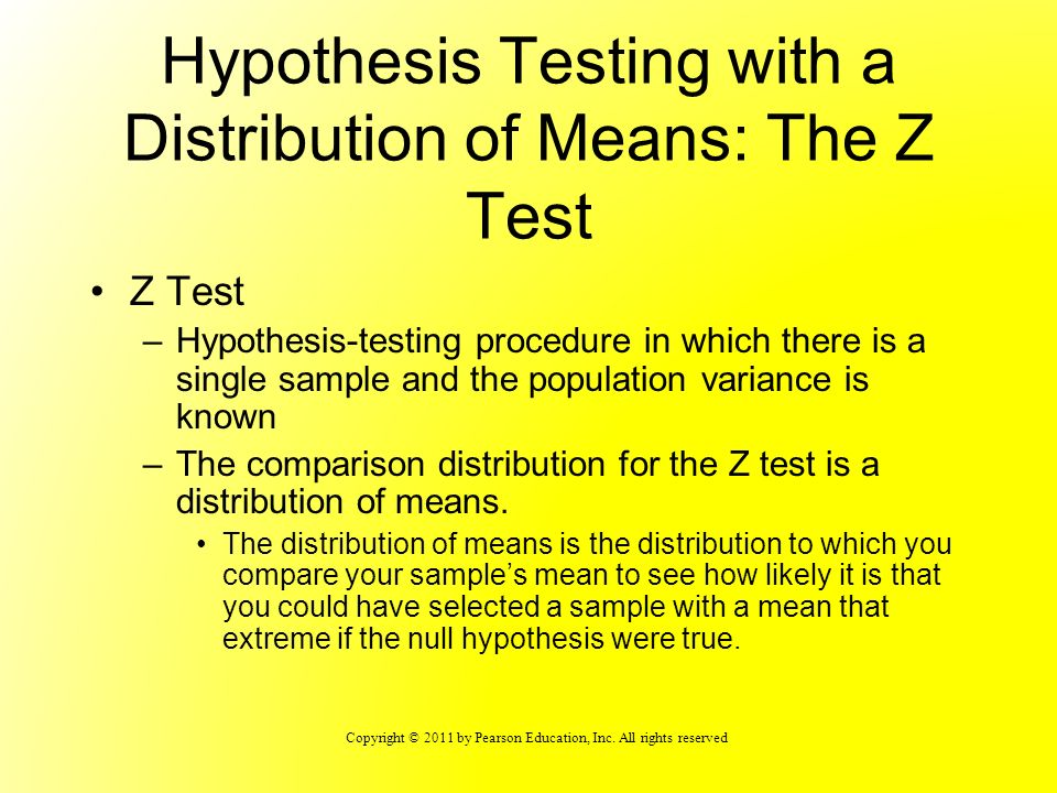 Hypothesis Testing with a Distribution of Means: The Z Test