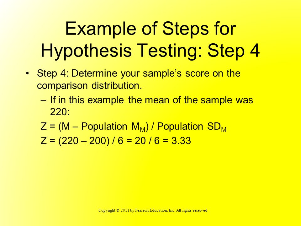 Example of Steps for Hypothesis Testing: Step 4