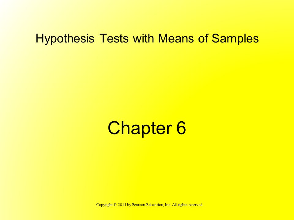 Hypothesis Tests with Means of Samples