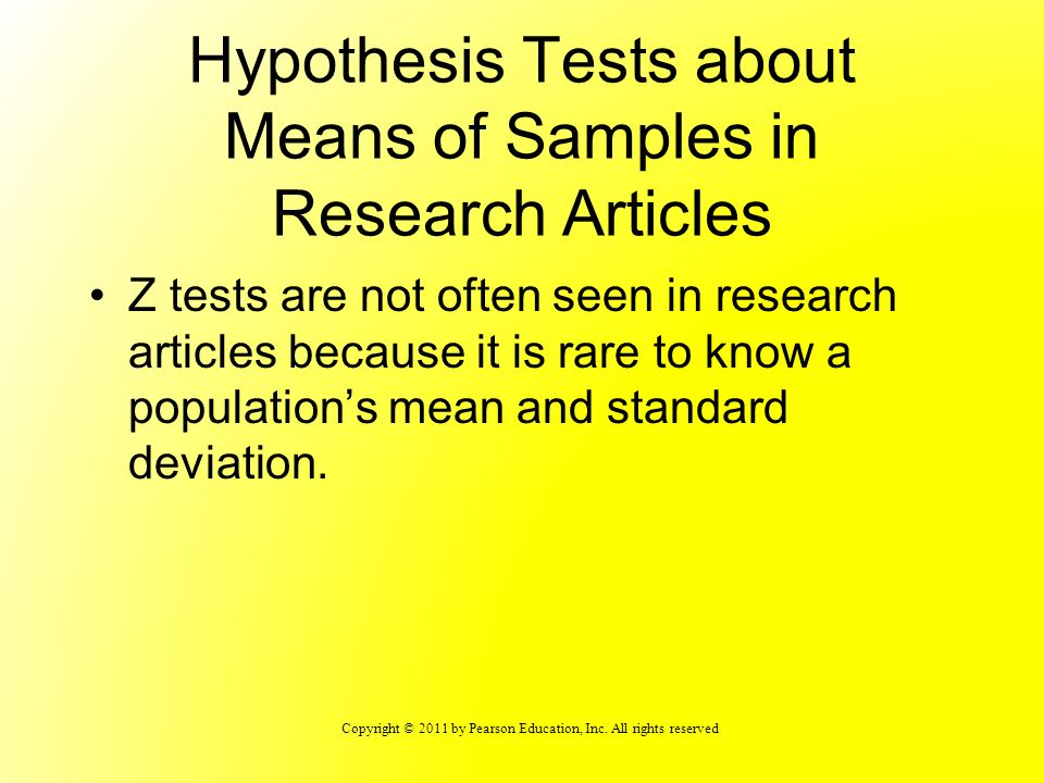Hypothesis Tests about Means of Samples in Research Articles
