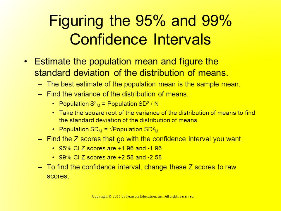 Figuring the 95% and 99% Confidence Intervals