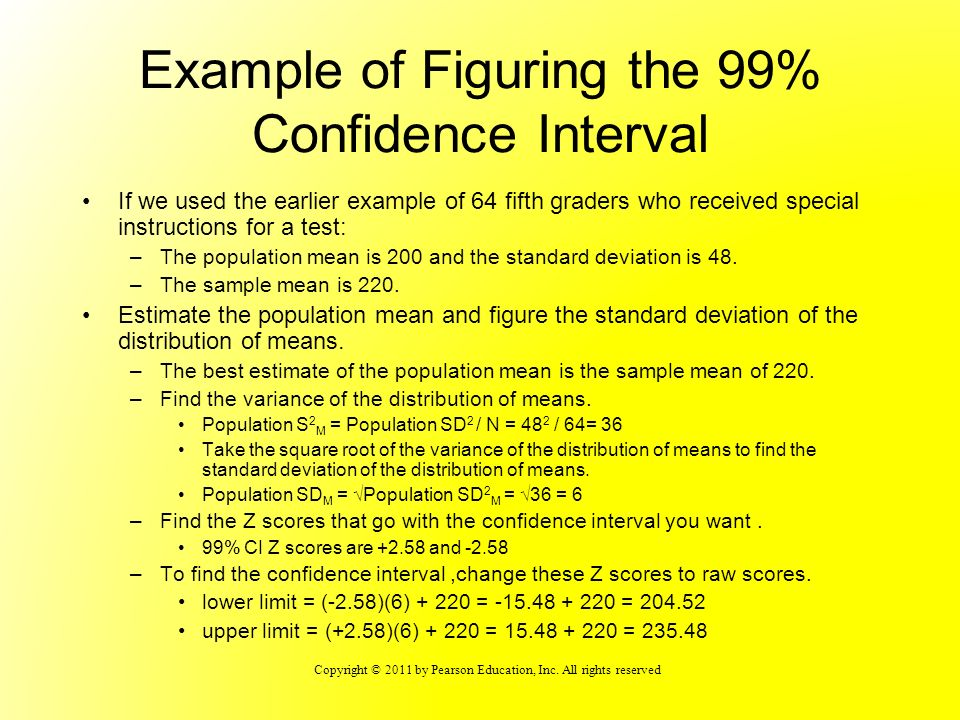 Example of Figuring the 99% Confidence Interval