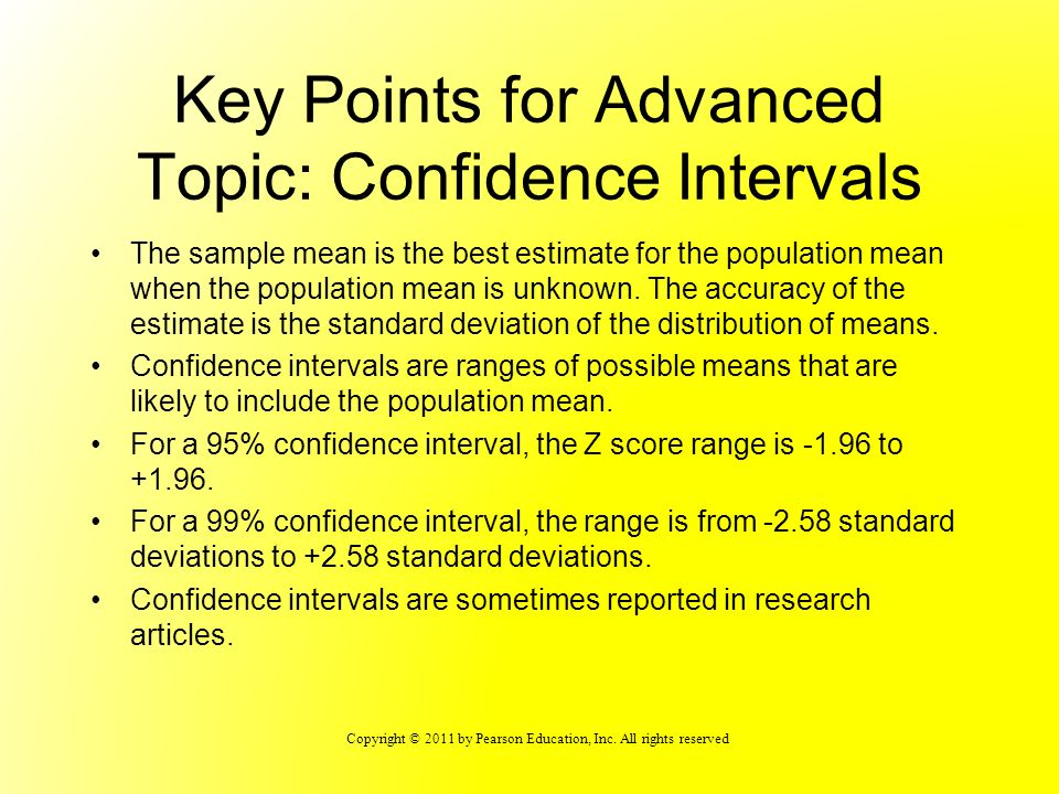 Key Points for Advanced Topic: Confidence Intervals