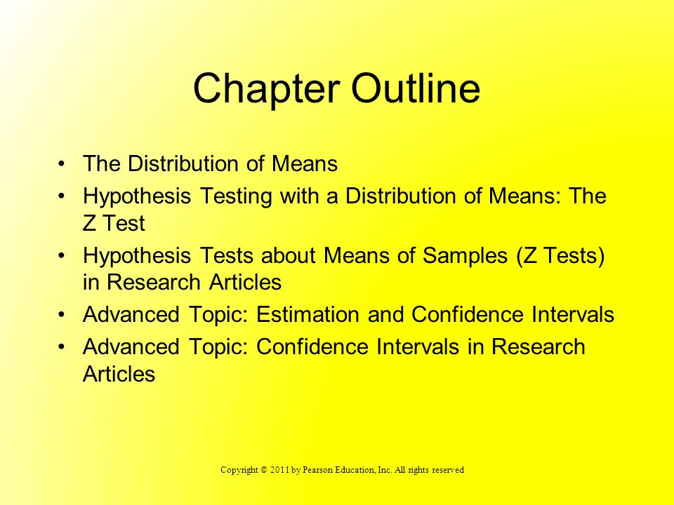 Chapter Outline The Distribution of Means
