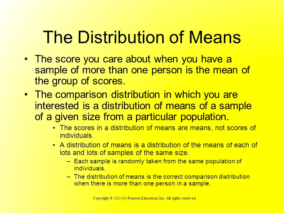 The Distribution of Means