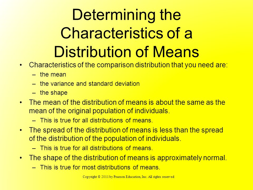 Determining the Characteristics of a Distribution of Means
