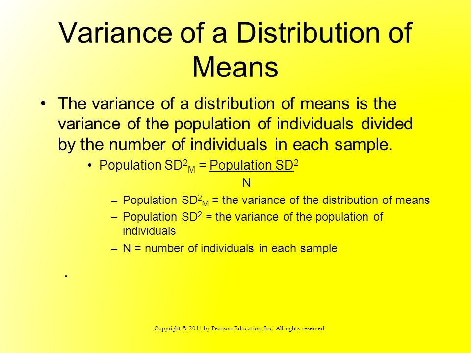 Variance of a Distribution of Means