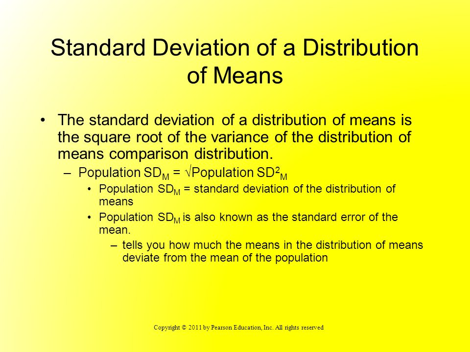 Standard Deviation of a Distribution of Means